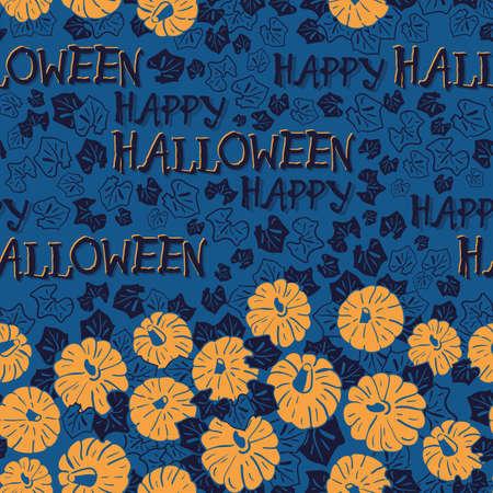 Vector orange pumpkins blue seamless pattern background