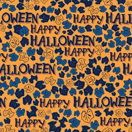 Vector orange blue leaf halloween seamless pattern