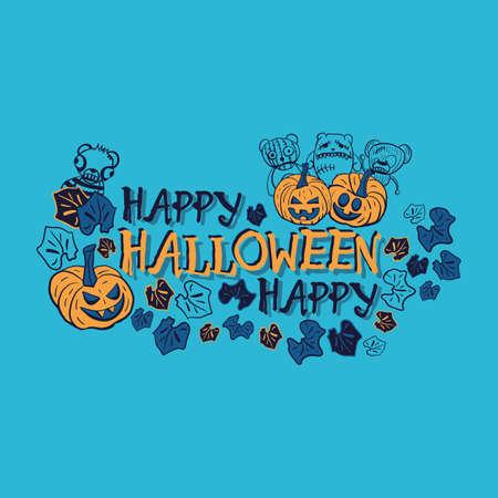 Vector orange blue leaf halloween illustration print