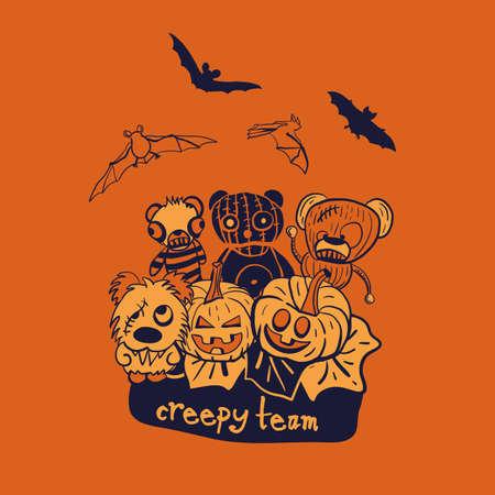 Vector orange pumpkins teddies bats illustration print