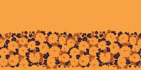 Vector orange pumpkins border seamless pattern background Stock Illustratie