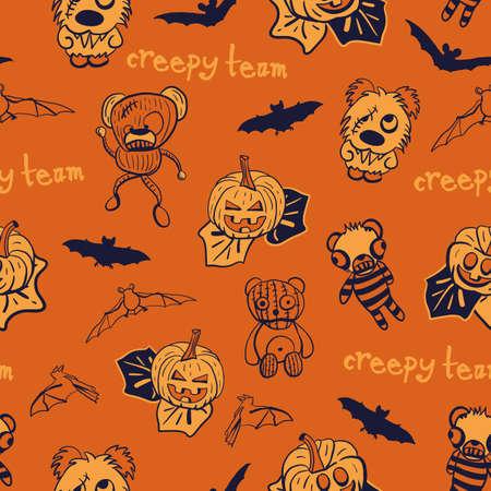 Vector bats, pumpkins, teddies seamless pattern background Stock Illustratie