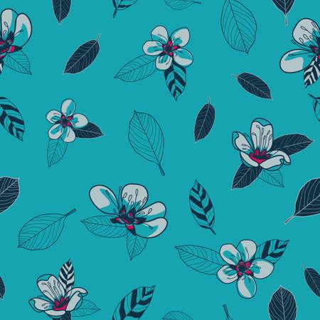 Vector grey cherry flowers blue seamless pattern