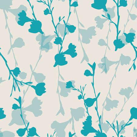Vector blue white cherry flowers seamless pattern Stock Illustratie