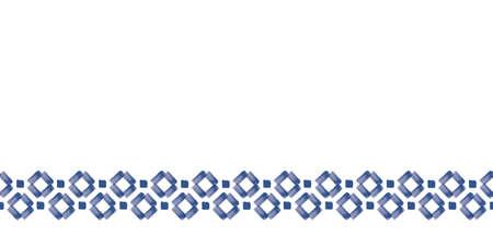 Vector blue border, squares folk seamless pattern Stock Illustratie