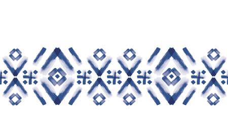 Vector blue border, squares folk seamless pattern Stockfoto