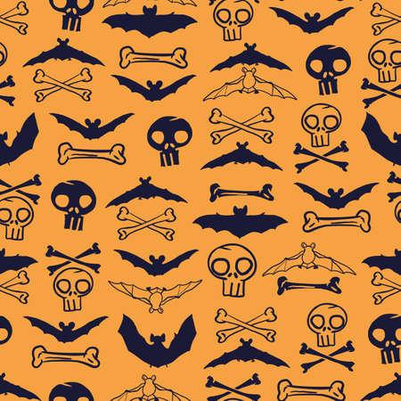 Vector orange skulls bats bones seamless pattern