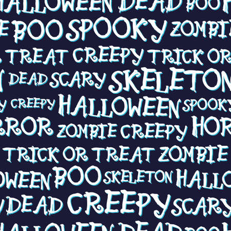 Vector white text halloween dark seamless pattern