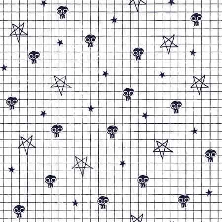 Vector black skull pentagram seamless pattern white