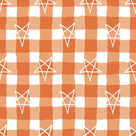 Vector orange stars pentagrams seamless pattern gingham