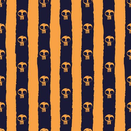 Vector orange black skull stripe seamless pattern