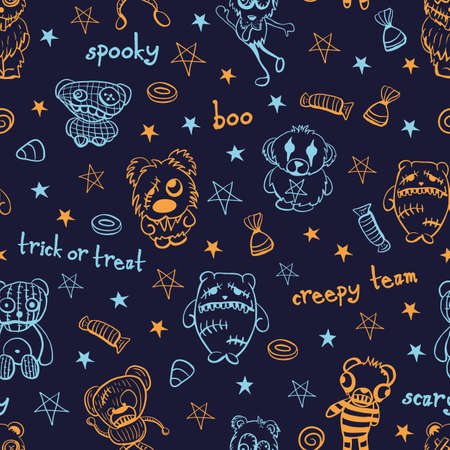 Vector orange blue teddies stars seamless pattern dark Illusztráció