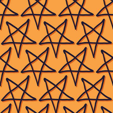 Vector orange dark star pentagram seamless pattern Stock fotó - 156752149