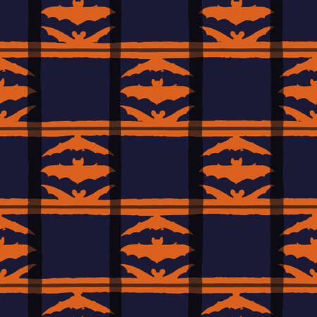 Vector black dark bats orange seamless pattern