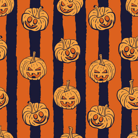 Vector orange pumpkins stripes seamless pattern dark Illusztráció