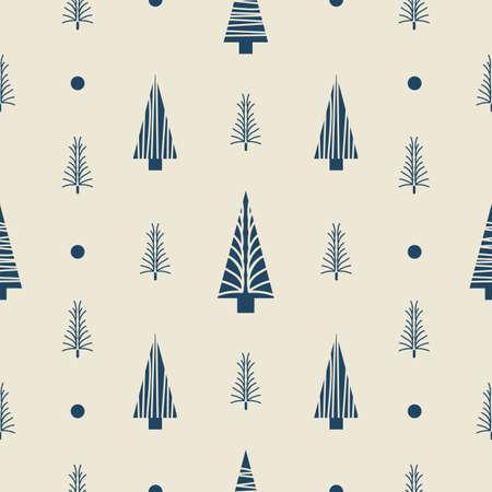 Vector ecru grey Christmas tree seamless pattern light