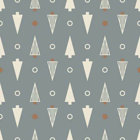 Vector ecru grey Christmas tree seamless pattern light