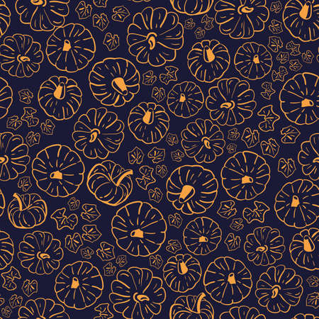 Vector orange pumpkins navy blue seamless pattern