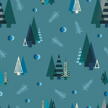 Vector blue geometric Christmas trees seamless pattern