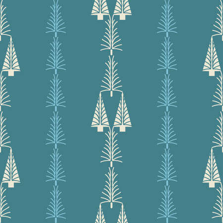 Vector blue white Christmas trees seamless pattern