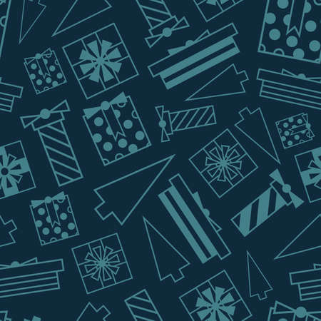 Vector blue geometric gift dark seamless pattern