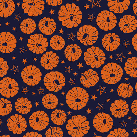 Vector orange pumpkins stars dark seamless pattern Illusztráció