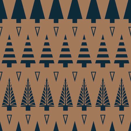 Vector blue brown Christmas trees seamless pattern Illusztráció