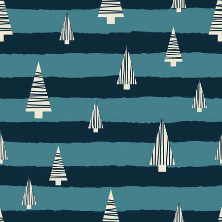 Vector white blue Christmas trees seamless pattern striped