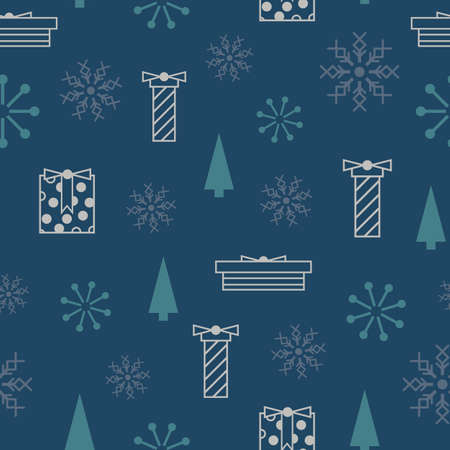 Vector blue grey snowflakes gifts seamless pattern Vector Illustration