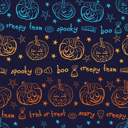 Vector colourful pumpkin monsters seamless pattern background