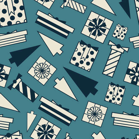 Vector white blue geometric gifts seamless pattern