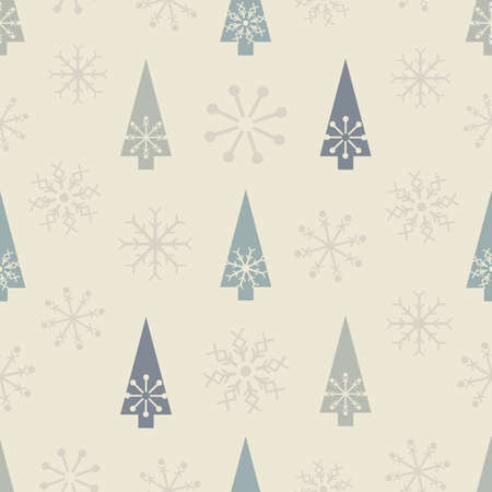 Vector grey white snowflake tree seamless pattern