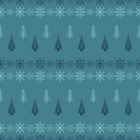 Vector blue green snowflake tree seamless pattern