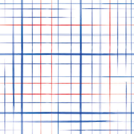 Vector red blue grid, check white seamless pattern