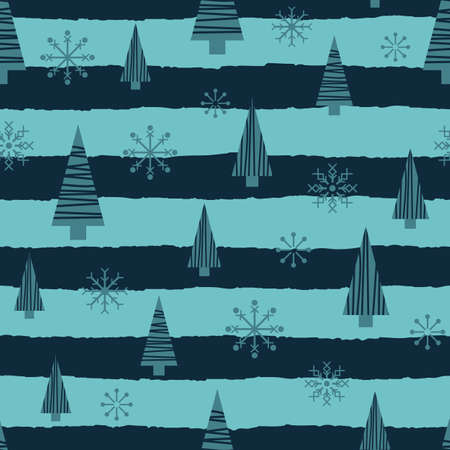Vector blue Christmas trees stars seamless pattern