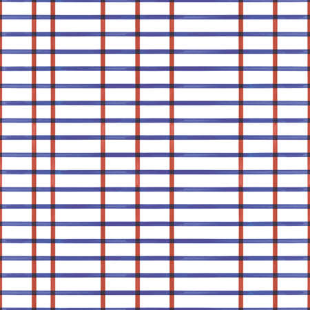 Vector red blue stripes white grid seamless pattern