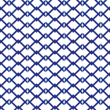 Vector blue grid, check white seamless pattern