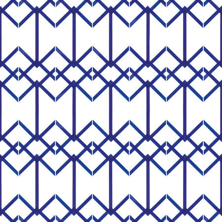 Vector blue stripes squares grid white seamless pattern Stock fotó