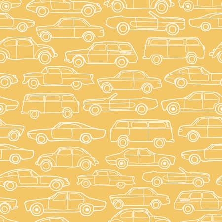 Vector white line yellow old cars seamless pattern