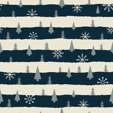 Vector black white snowflake tree seamless pattern