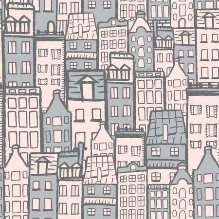 Vector white dark grey blue city seamless pattern