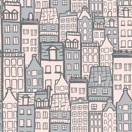 Vector white dark grey blue city seamless pattern