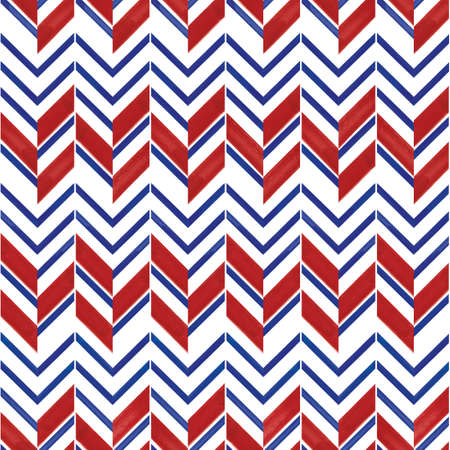 Vector blue red striped chevrons seamless pattern Stock fotó - 158775085