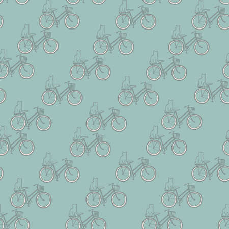 Vector green grey bikes cats seamless pattern Stock fotó - 158775088