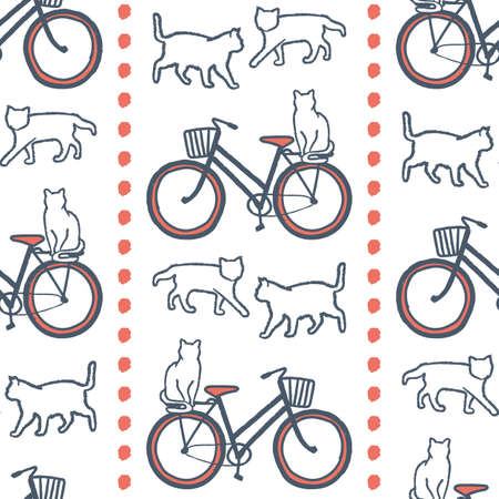 Vector orange grey bikes cats seamless pattern white