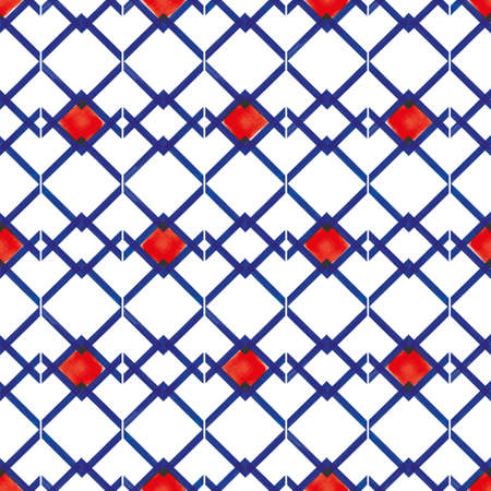 Vector blue zigzag lines red karo seamless pattern Stock fotó