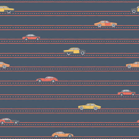 Vector colourful cars dark blue seamless pattern