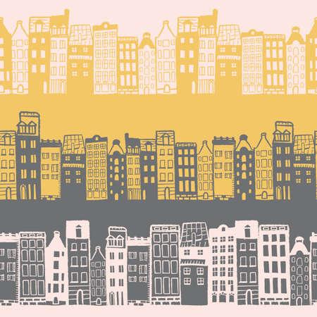 Vector yellow grey white city seamless pattern
