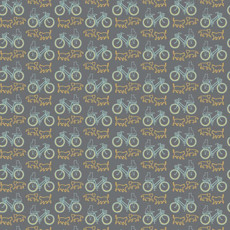 Vector yellow green bikes cats seamless pattern grey