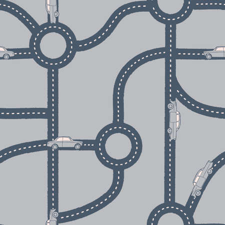 Vector blue white grey roads cars seamless pattern Illusztráció